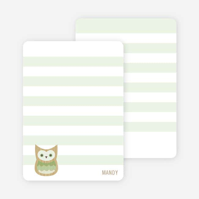 Woodblock Owl Personal Stationery - Green Smoothie