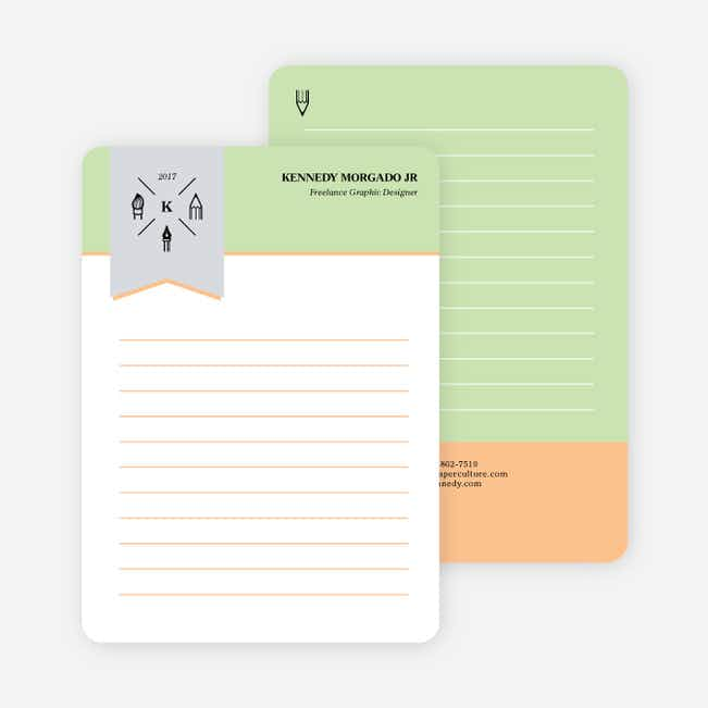 Artistic Tools Personal Stationery - Green
