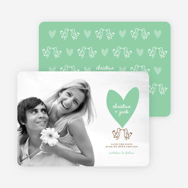 Lovebird Inspired Save the Date Cards - Pistachio