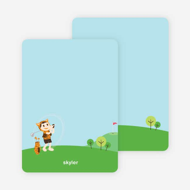 Note Cards: 'Tiger Golf Invitation' cards. - Pumpkin Orange