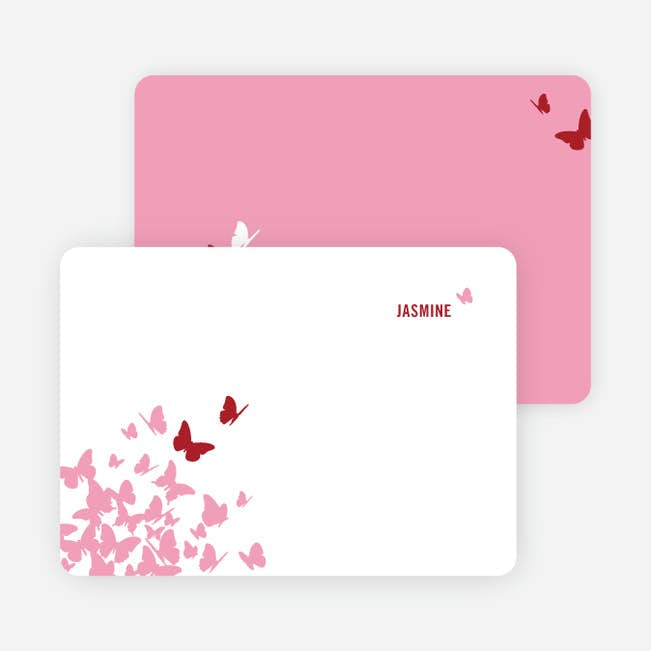 personal stationery for flying butterfly modern birthday invitation