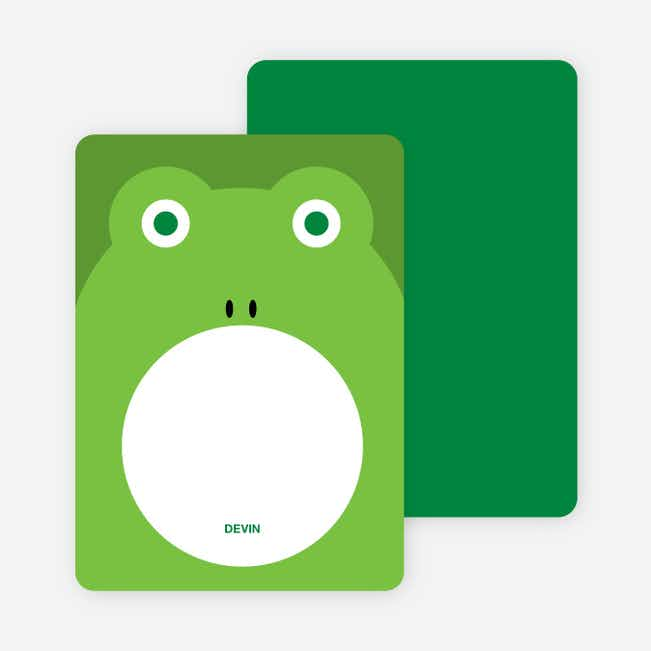 Personal Stationery for Ribbit Frog Modern Birthday Invitation - Shamrock