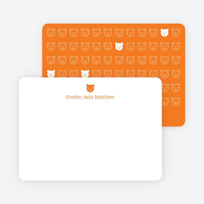 Stationery: '1 Little Bear' cards. - Orange