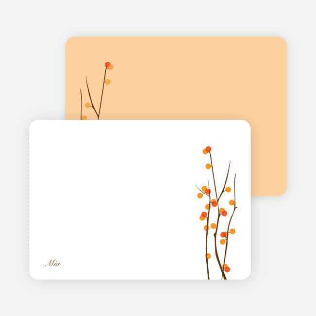 Stationery: 'Holiday Berries' cards. - Apricot