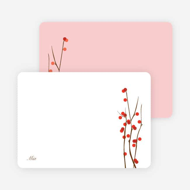 Stationery: 'Holiday Berries' cards. - Tomato Red