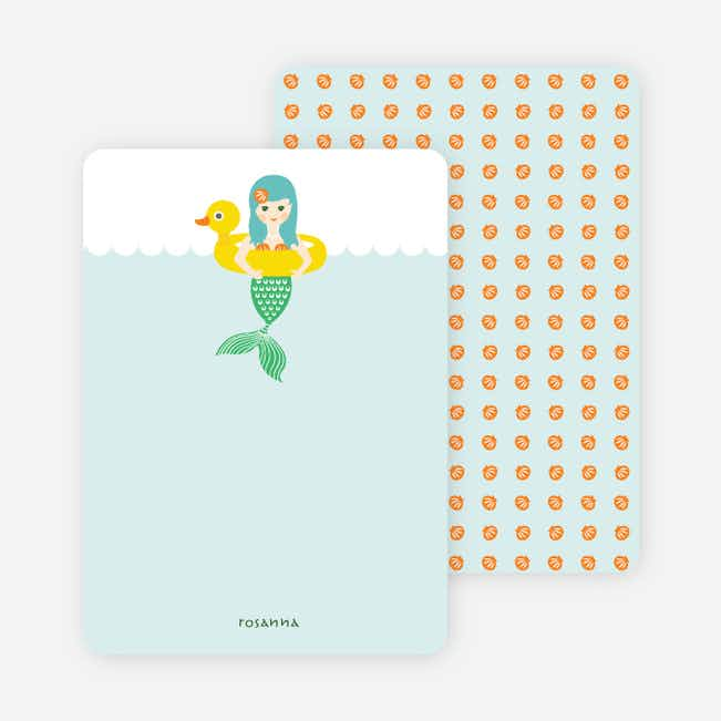 Stationery: 'The Little Mermaid Birthday Invitation' cards. - Mint Green