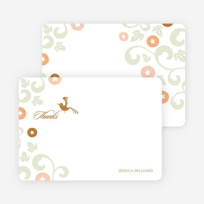 Thank You Card for Morning Glory Wedding Shower Invitations - Bronze