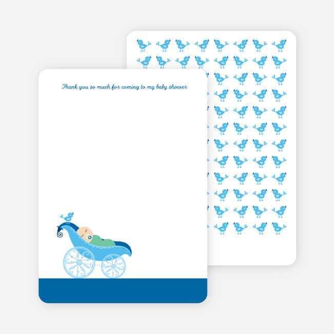 Thank You Card for Pea in Pod Baby Shower Invitation - Royal Blue