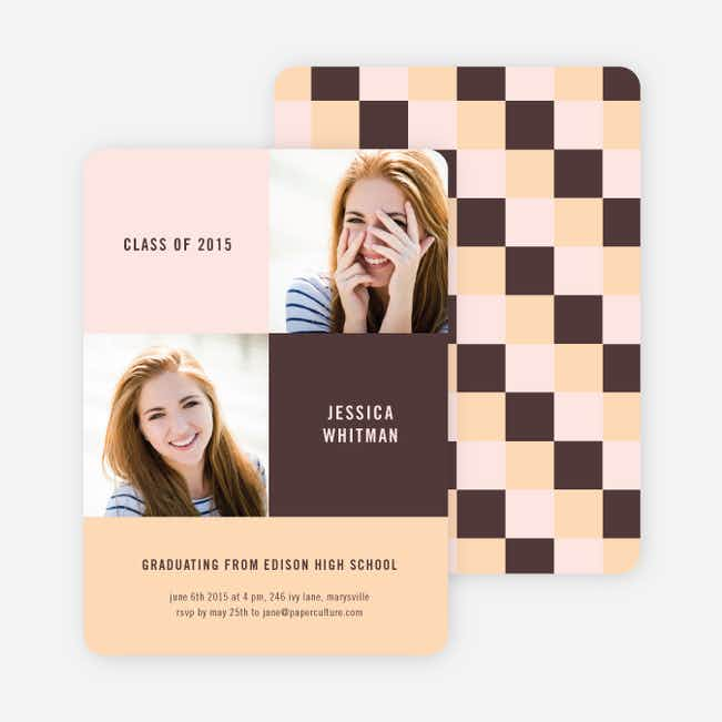 Bold Geometric Graduations Cards - Brown