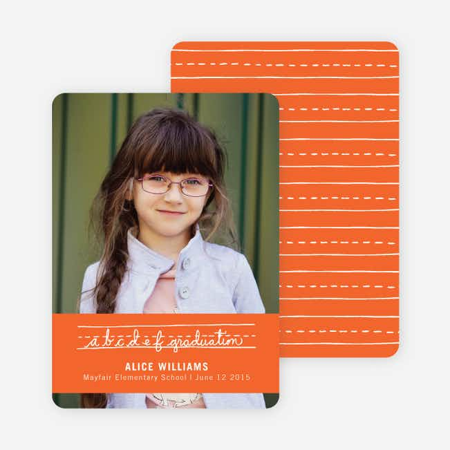 Alphabet Graduation Announcements - Peach Lemonade