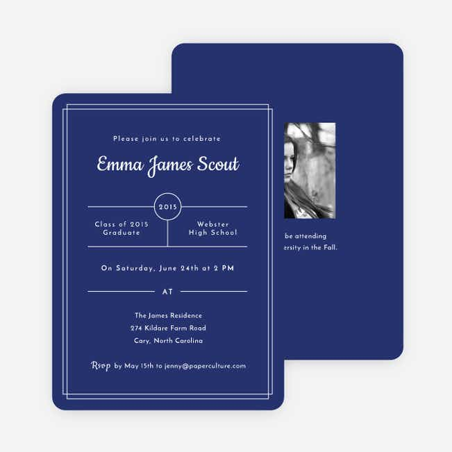 Modern Outlines Graduation Invitations - Blue