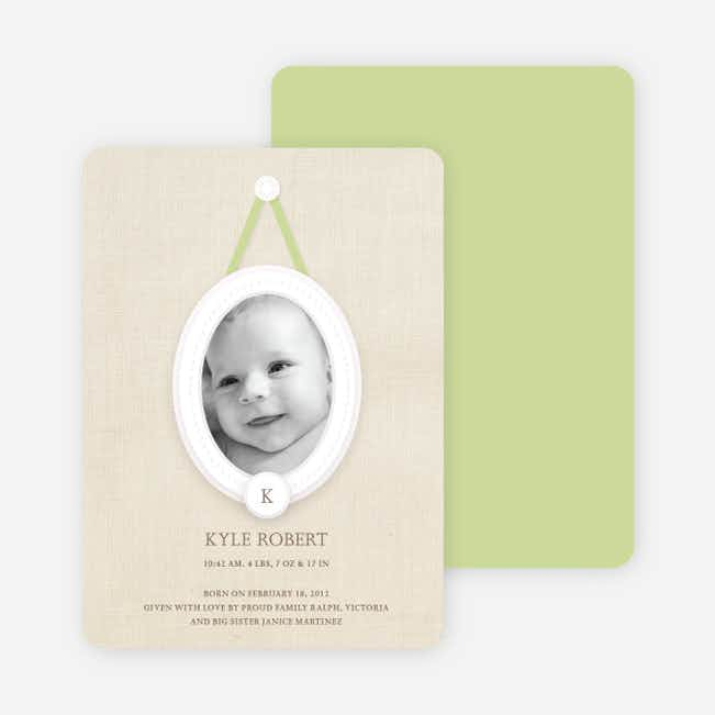 Antique Monogram Birth Announcements - Bamboo
