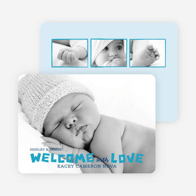 Baby Chaos Photo Birth Announcements - Periwinkle