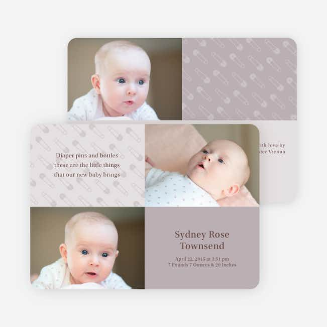Baby pin Photo Birth Announcements - Light Grey