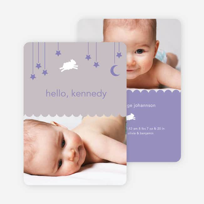 Bah Bah White Sheep Birth Announcements - Purple Moon