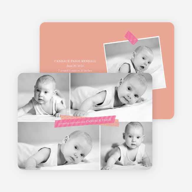 Birth Announcements Photo Collage - Pink