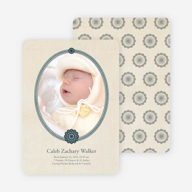 Classic Frames: Vintage Photo Birth Announcement - Midnight Green