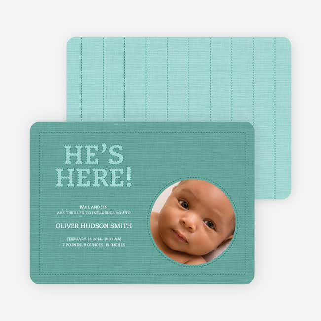Fabric of Life Birth Announcements - Turquoise