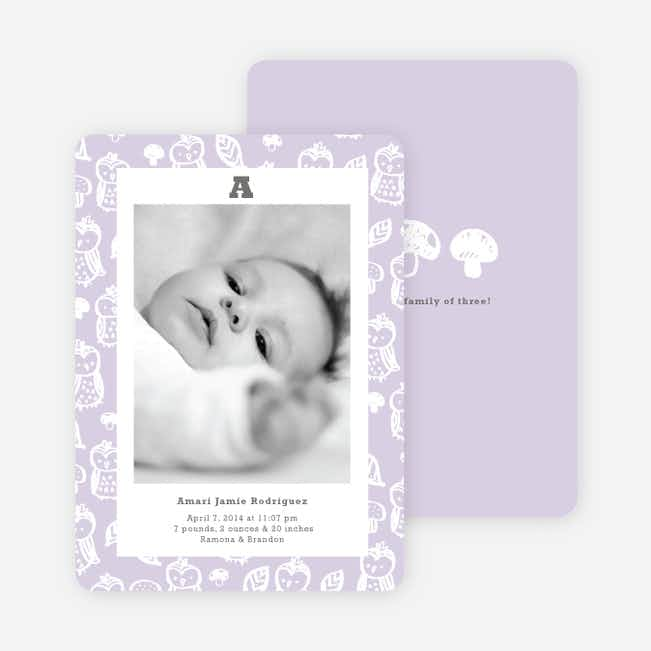 Framed Owl Birth Announcements - Fresh Lavender