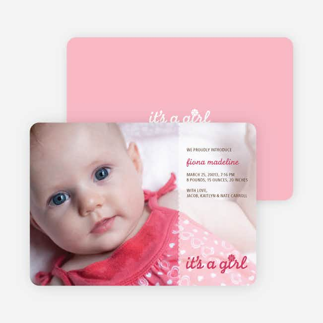It's a Girl Photo Birth Announcements - Magenta