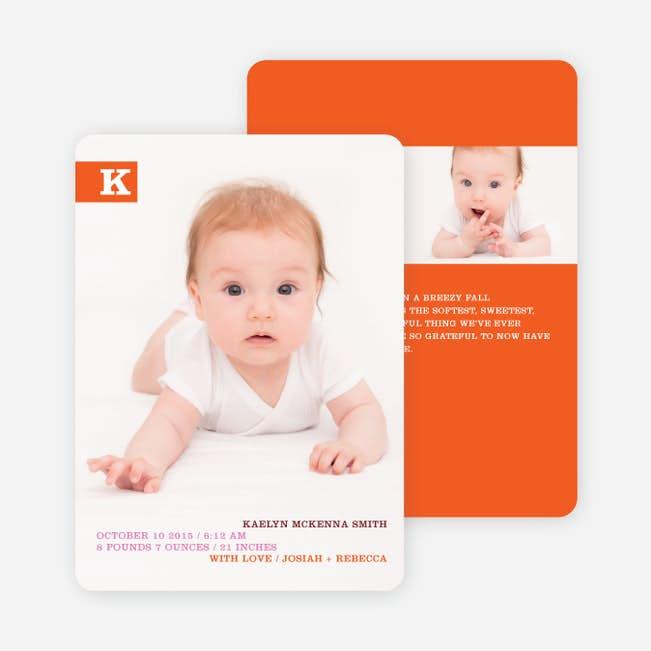 Monogram Color Band Photo Birth Announcements Paper Culture