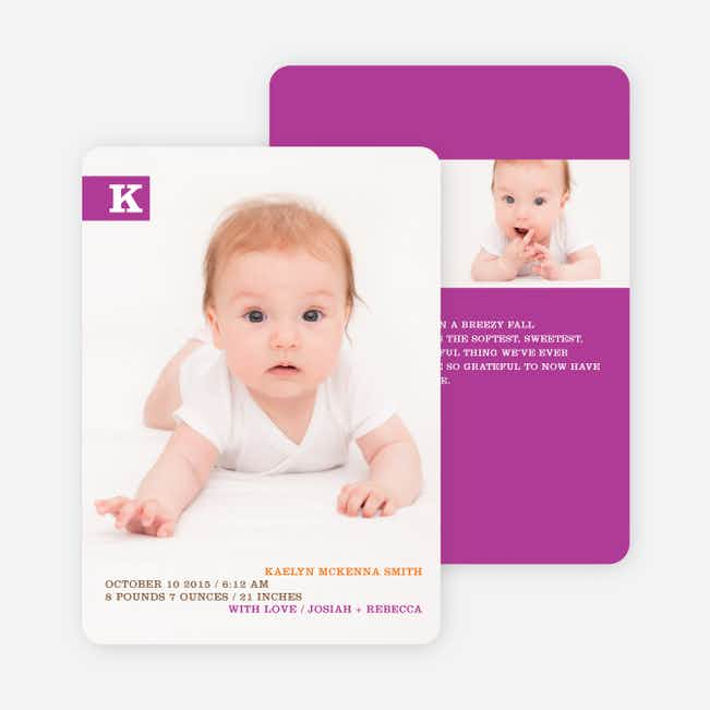 Monogram Color Band Photo Birth Announcements - Eggplant