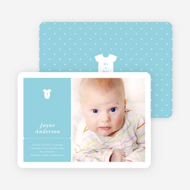 Onesie Tag Fresh Birth Announcements - Blusie