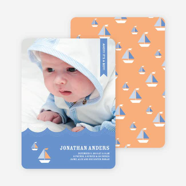 Sailor Photo Birth Announcements - Orange