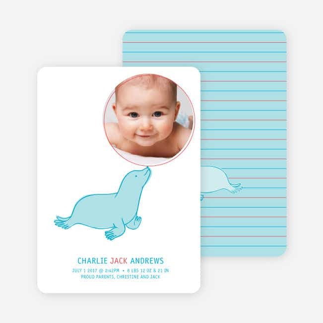 Sammie the Seal Photo Birth Announcements - Azure