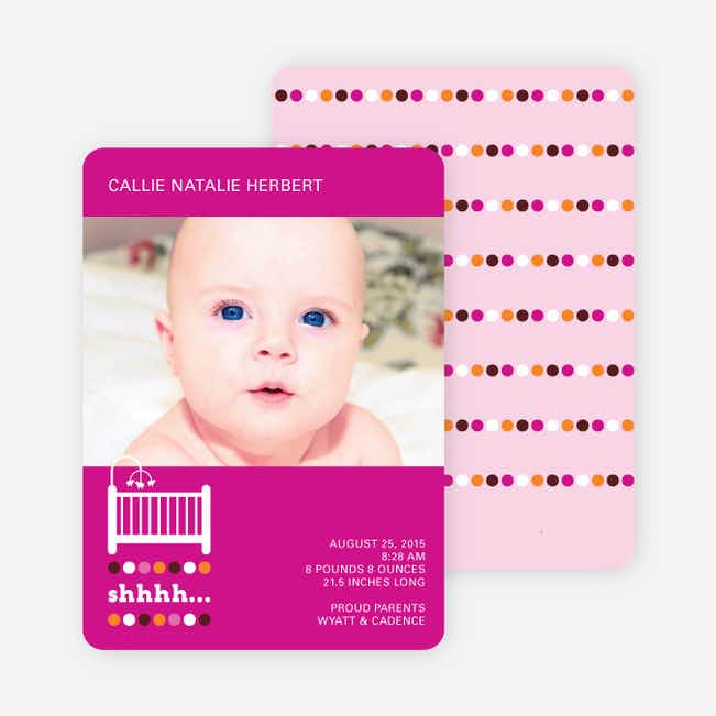 Shhh! Baby's Sleepin Birth Announcements - Magenta