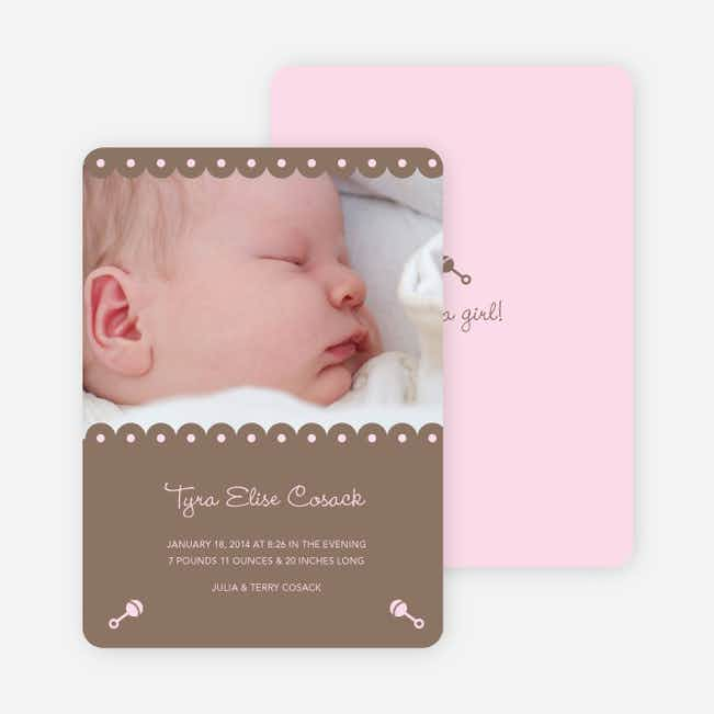 Shush, Rattle and Drool Birth Announcements - Cocoa