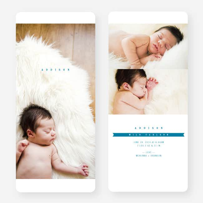 Simply Classic Photo Birth Announcements - Blue