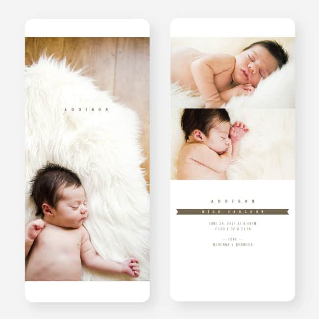 Simply Classic Photo Birth Announcements - Brown
