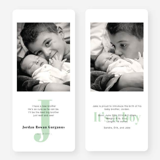 Simply Monogram Birth Announcements - Green