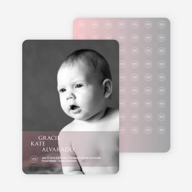 Studio Series Photo Birth Announcements - Reddish Pink