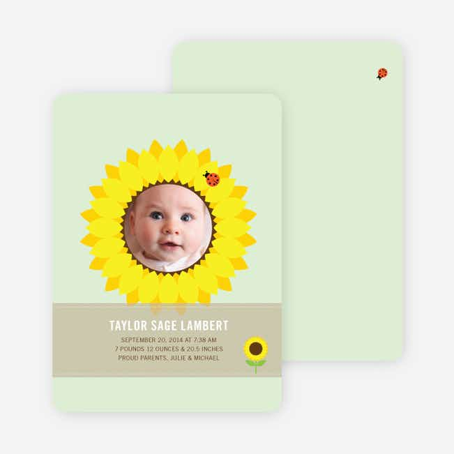 Sunflower Themed Birth Announcements - Mint