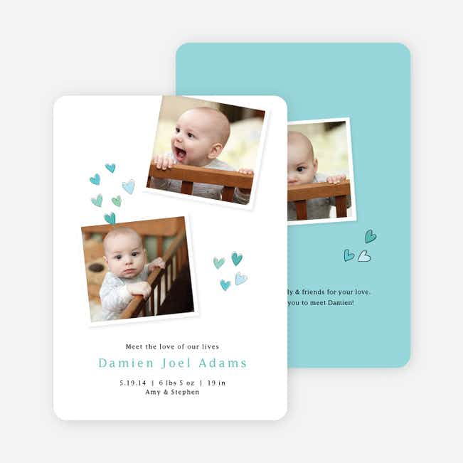 Sweethearts full of Love Birth Announcements - Blue