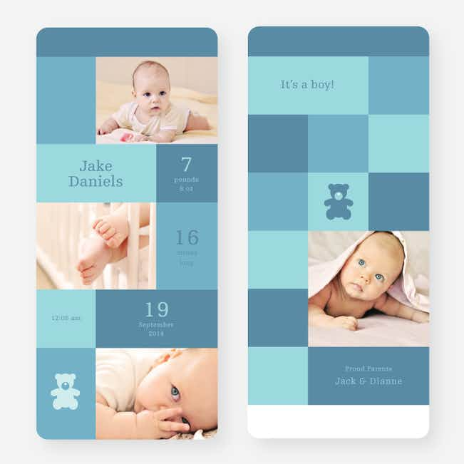 Teddy Bear Squares Birth Announcements - Blue