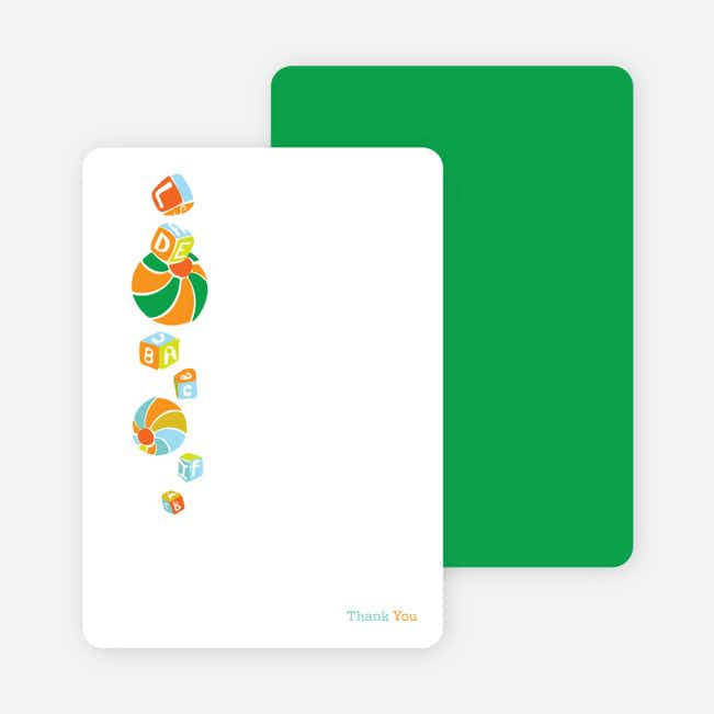 Thank you cards featuring a shower of presents. Printed on premium eco friendly paper - Carrot