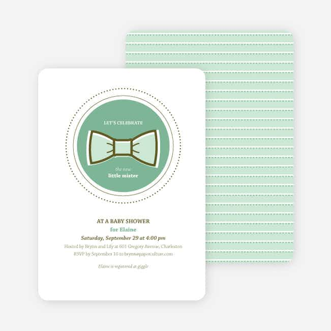 The Bowtie and the New Little Mister Baby Shower Invitations - Green