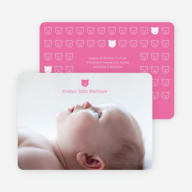 tiny teddy bear photo birth announcement prints paper culture