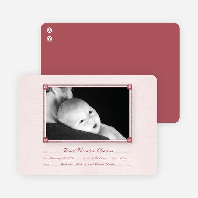 Wallpaper Photo Frame Birth Announcements - Pale Blush