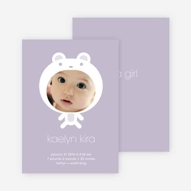 Baby in Cuddly Bear Outfit Baby Announcement - Lilac