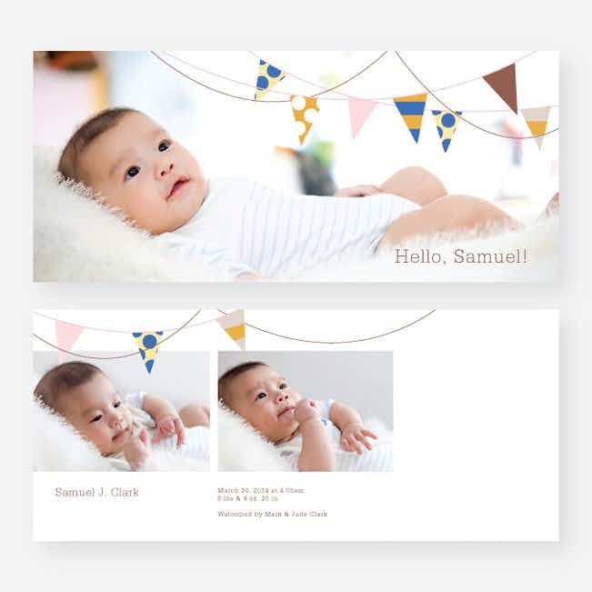 Birth Flags Baby Announcements - Brown