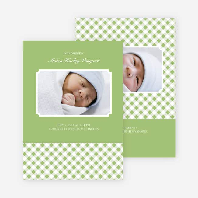 Gingham Baby Announcement - Light Sage