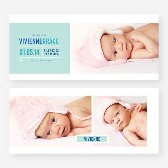 Introducing Your Baby Announcements - Blue