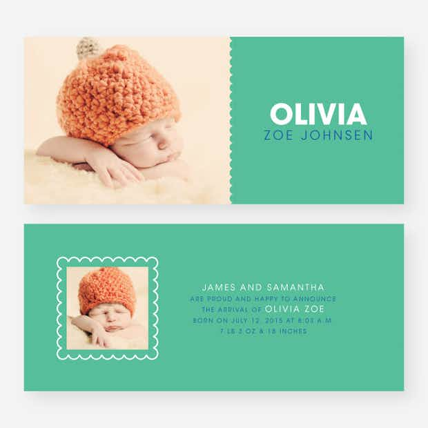 Color Block Baby Announcements - Main