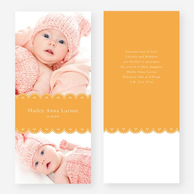 Elegant Birth Announcements - Orange
