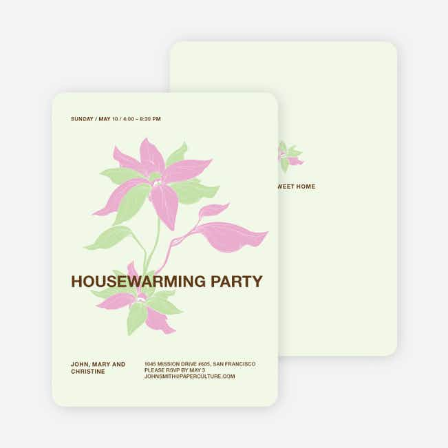 Flower Themed Housewarming Party Invitations - Pistachio