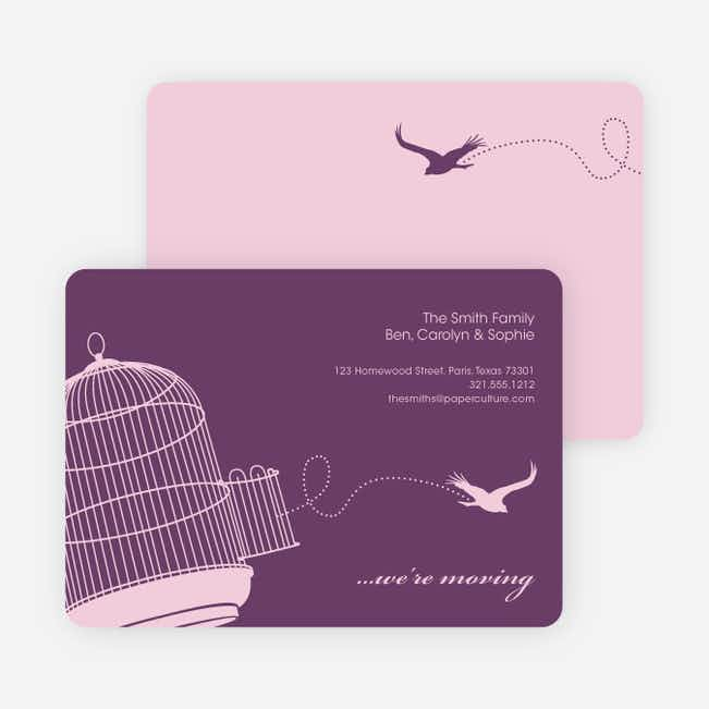 Flown the Coop Moving Announcement and Housewarming Invite - Violet